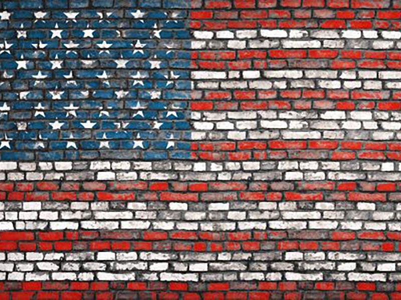 American Flag on Bricks