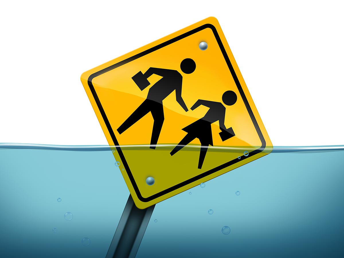 School Sign Underwater