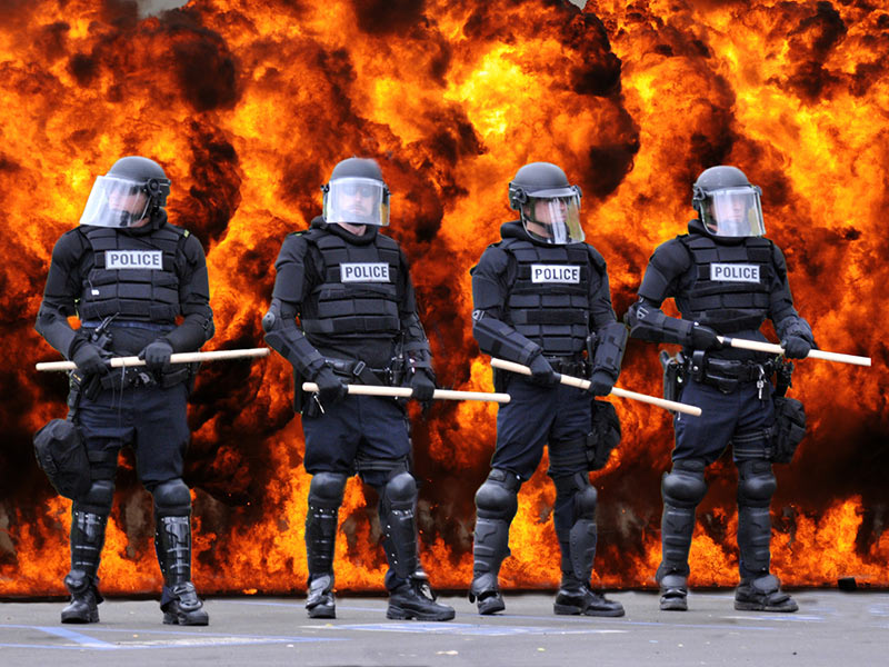 Riot Police and Flames